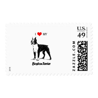 I Love My Boston Terrier Dog Heart Postage Stamp