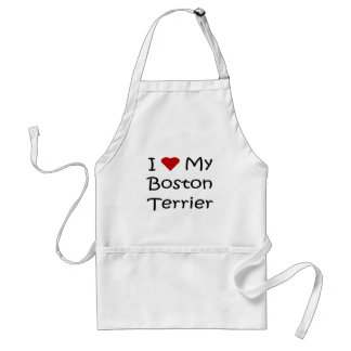 I Love My Boston Terrier Dog Lover Gifts Adult Apron