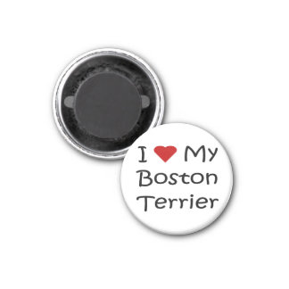 I Love My Boston Terrier Dog Lover Gifts 1 Inch Round Magnet