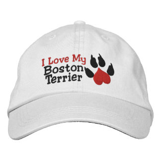 I Love My Boston Terrier Dog Paw Print Embroidered Baseball Cap