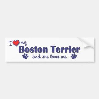 I Love My Boston Terrier (Female Dog) Bumper Sticker