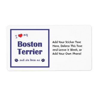 I Love My Boston Terrier (Female Dog) Label