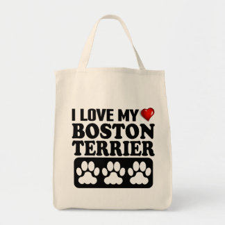 I Love My Boston Terrier Grocery Tote Bag