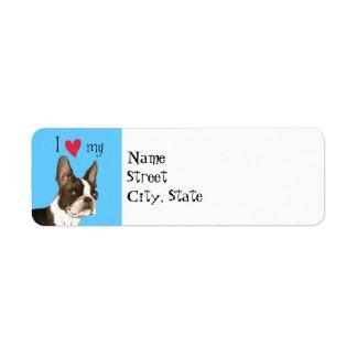 I Love my Boston Terrier Label