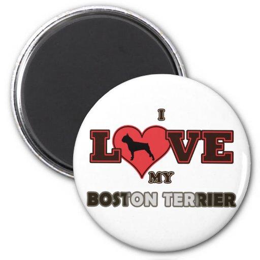 I Love My Boston Terrier Refrigerator Magnet