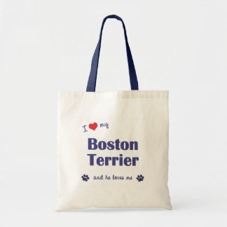 I Love My Boston Terrier (Male Dog) Tote Bags