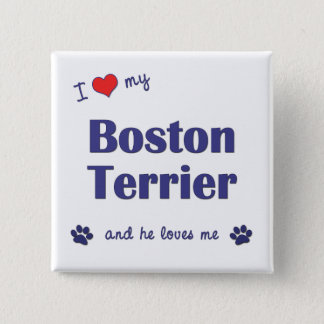 I Love My Boston Terrier (Male Dog) Pinback Button