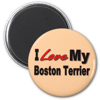 I Love My Boston Terrier Merchandise Refrigerator Magnets