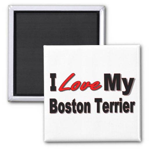 I Love My Boston Terrier Merchandise Fridge Magnets