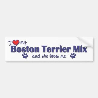I Love My Boston Terrier Mix (Female Dog) Bumper Sticker