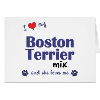 I Love My Boston Terrier Mix (Female Dog) Card