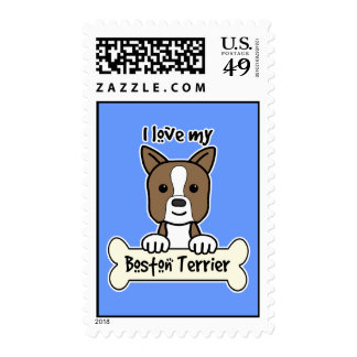 I Love My Boston Terrier Stamps