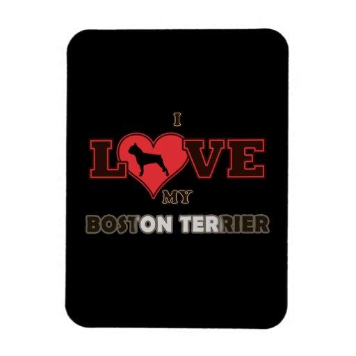 I Love My Boston Terrier Vinyl Magnets