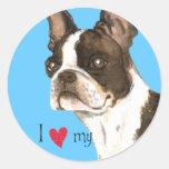 I Love my Boston Terrier Round Stickers