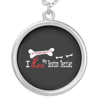I Love My Boston Terrier Silver Plated Necklace