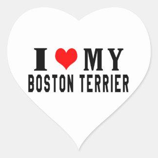 I Love My Boston Terrier Heart Sticker