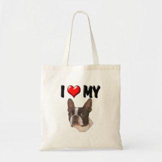 I Love My Boston Terrier Tote Bag
