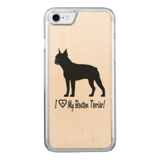 I Love My Boston Terrier with Paw Prints in Heart Carved iPhone 8/7 Case