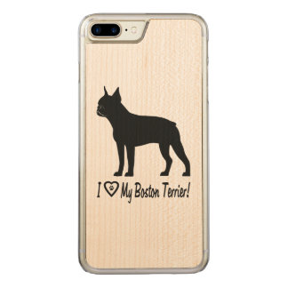 I Love My Boston Terrier with Paw Prints in Heart Carved iPhone 8 Plus/7 Plus Case