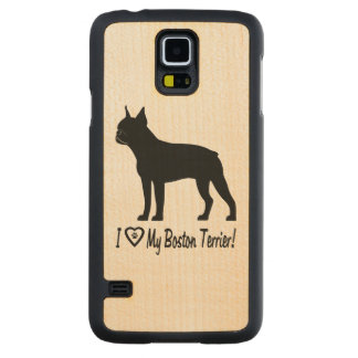 I Love My Boston Terrier with Paw Prints in Heart Carved Maple Galaxy S5 Slim Case