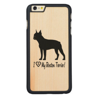 I Love My Boston Terrier with Paw Prints in Heart Carved Maple iPhone 6 Plus Slim Case