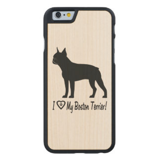 I Love My Boston Terrier with Paw Prints in Heart Carved Maple iPhone 6 Slim Case