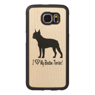 I Love My Boston Terrier with Paw Prints in Heart Wood Phone Case