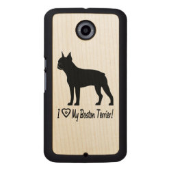 Carved Google Nexus 6 Slim Wood Case with Boston Terrier Phone Cases design