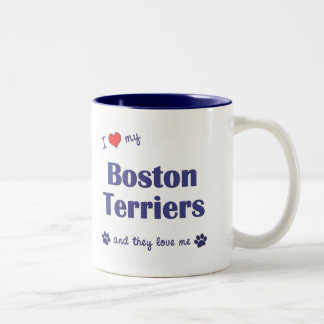 I Love My Boston Terriers (Multiple Dogs) Two-Tone Coffee Mug