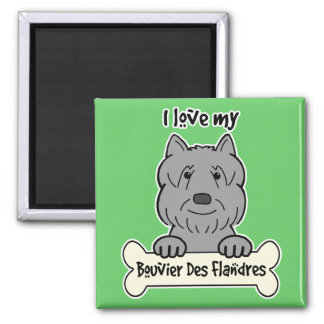 I Love My Bouvier 2 Inch Square Magnet