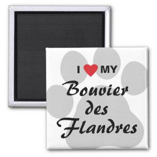I Love My Bouvier des Flandres 2 Inch Square Magnet