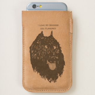 I Love My Bouvier des Flandres - leather iPhone 6/6S Case