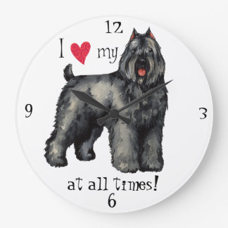 I Love my Bouvier Large Clock