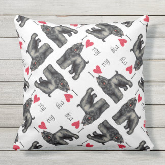 I Love my Bouvier Outdoor Pillow