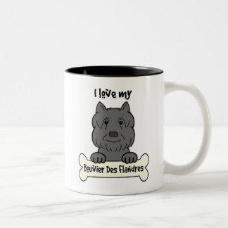 I Love My Bouvier Two-Tone Coffee Mug