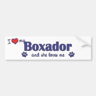 I Love My Boxador (Female Dog) Car Bumper Sticker