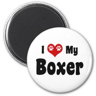 I Love My Boxer 2 Inch Round Magnet