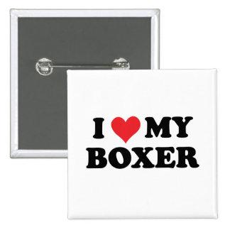 I Love My Boxer 2 Inch Square Button