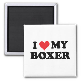 I Love My Boxer 2 Inch Square Magnet