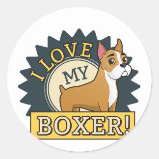 I Love My Boxer Classic Round Sticker