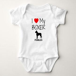 I Love My Boxer Dog Baby Bodysuit