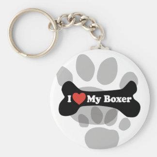 I Love My Boxer - Dog Bone Keychain