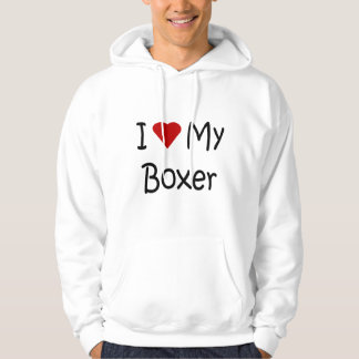 I Love My Boxer Dog Breed Lover Gifts and Apparel Hooded Sweatshirt