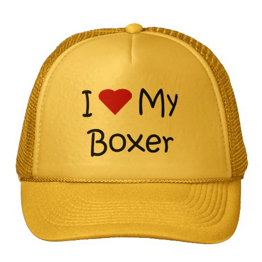 I Love My Boxer Dog Breed Lover Gifts and Apparel Trucker Hat