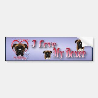 I Love My Boxer Dog  Bumper Sticker Car Bumper Sticker