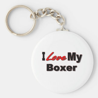 I Love My Boxer Dog Merchandise Keychain