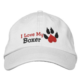 I Love My Boxer Dog Paw Print Embroidered Hat