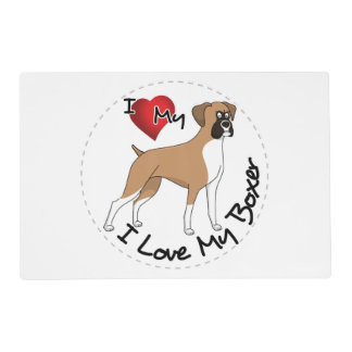 I Love My Boxer Dog Placemat