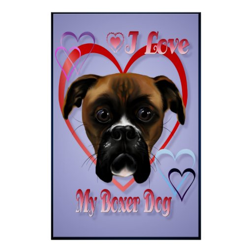 I Love My Boxer Dog Poster large