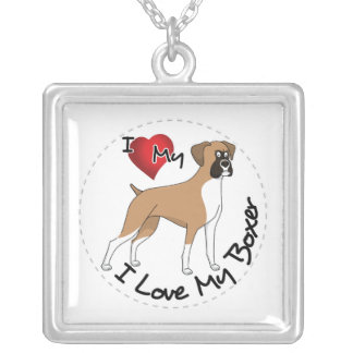 I Love My Boxer Dog Silver Plated Necklace